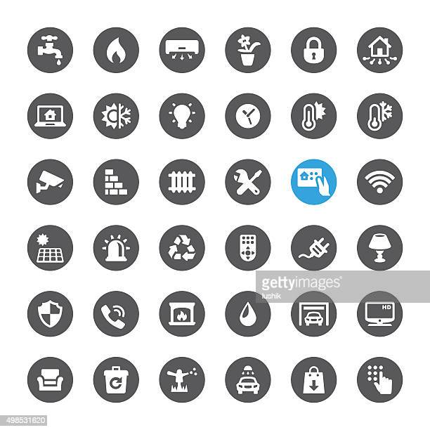 smart house technology related vector icons - sprinkler stock illustrations