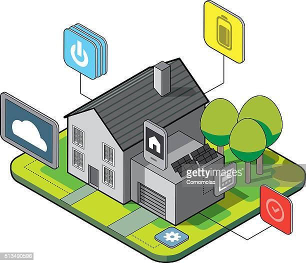 illustrations, cliparts, dessins animés et icônes de smart maison - domotique