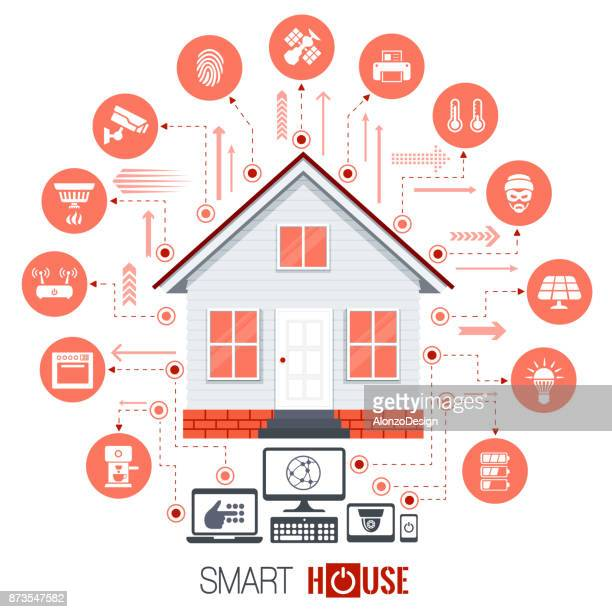 smart house - house exterior stock illustrations, clip art, cartoons, & icons