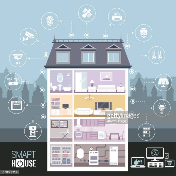 smart house - house interior stock illustrations, clip art, cartoons, & icons