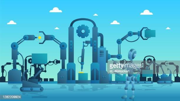 スマートな産業生産プロセス - 工業用ロボット点のイラスト素材/クリップアート素材/マンガ素材/アイコン素材
