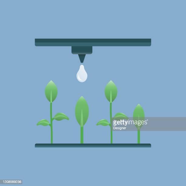 smart irrigation system flat icon. flat vector illustration symbol design element - irrigation equipment stock illustrations