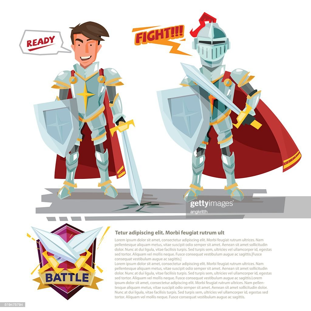 smart knight character design with battle shields logo design