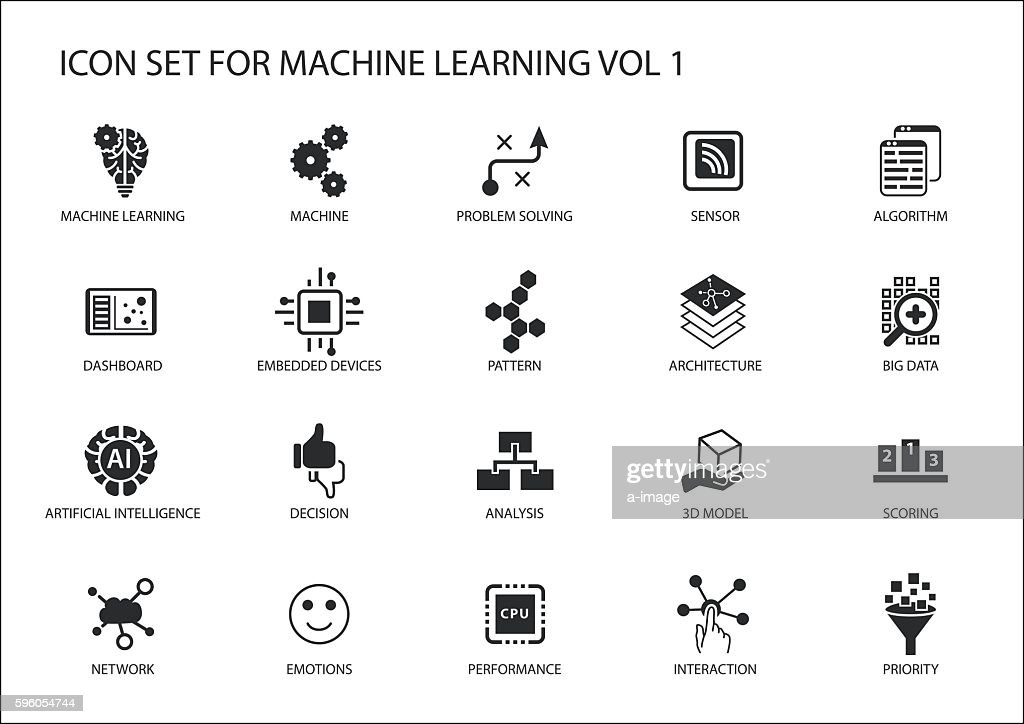 Smart machine learning vector icon set