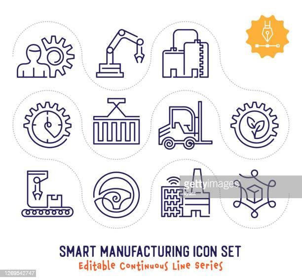 smart manufacturing editable continuous line icon pack - kommerzielle herstellung stock-grafiken, -clipart, -cartoons und -symbole