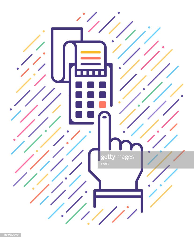 Smart Mobile Payment Line Icon Illustration