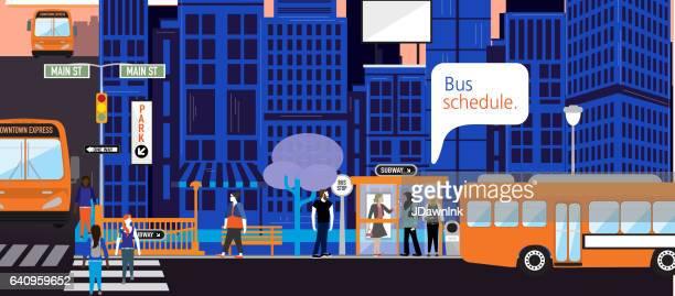 ilustraciones, imágenes clip art, dibujos animados e iconos de stock de horario de autobuses en línea de conceptos de ciudad moderna inteligente - calle urbana