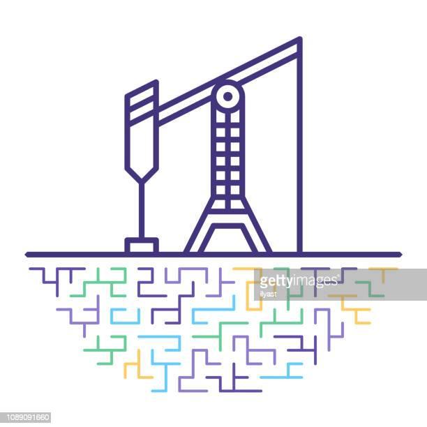 ilustraciones, imágenes clip art, dibujos animados e iconos de stock de smart aceite y gas producción vector línea icono ilustración - torre petrolera