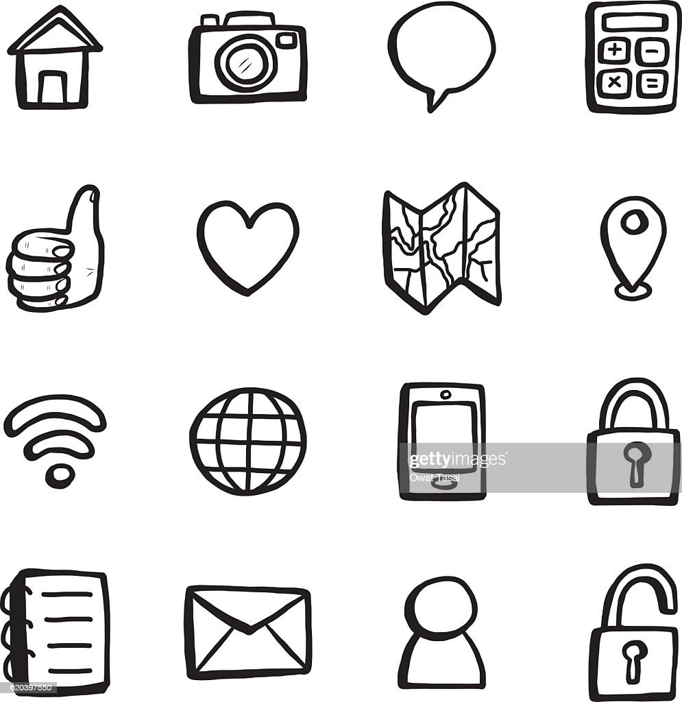 smart phone and computer icons, black and white, objects or set