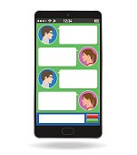 Smart phone and social networking service, Conversations on the Internet, vector illustration