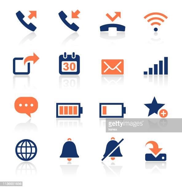 スマートフォンアプリ2色のアイコンセット - 受話器点のイラスト素材/クリップアート素材/マンガ素材/アイコン素材