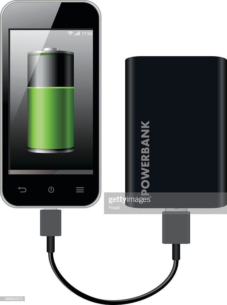 Smart Phone Charging using Power Bank : stock illustration