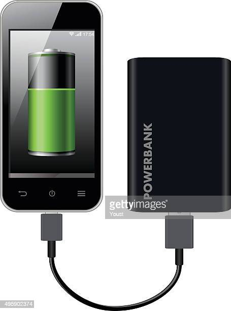 smart phone charging using power bank - usb cable stock illustrations, clip art, cartoons, & icons