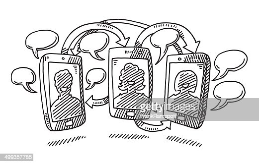 Smart Phone Communication Drawing High Res Vector Graphic Getty Images