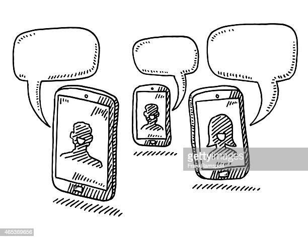 smart phone conversation speech bubble drawing - three people stock illustrations