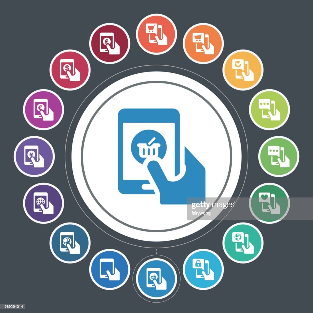 Smart Phone Functions and Shopping icons : Stock Illustration