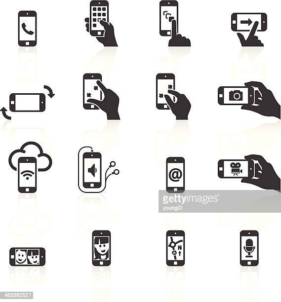 smart phone functions & gestures icons - microphone transmission stock illustrations