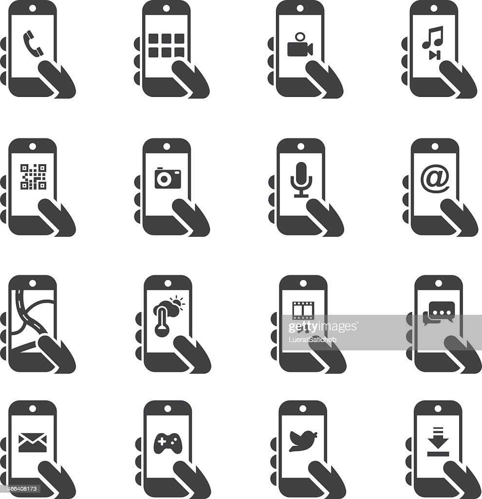 Smart Phone Functions Silhouette icons