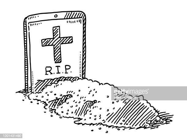 smart phone gravestone funeral drawing - rest in peace stock illustrations