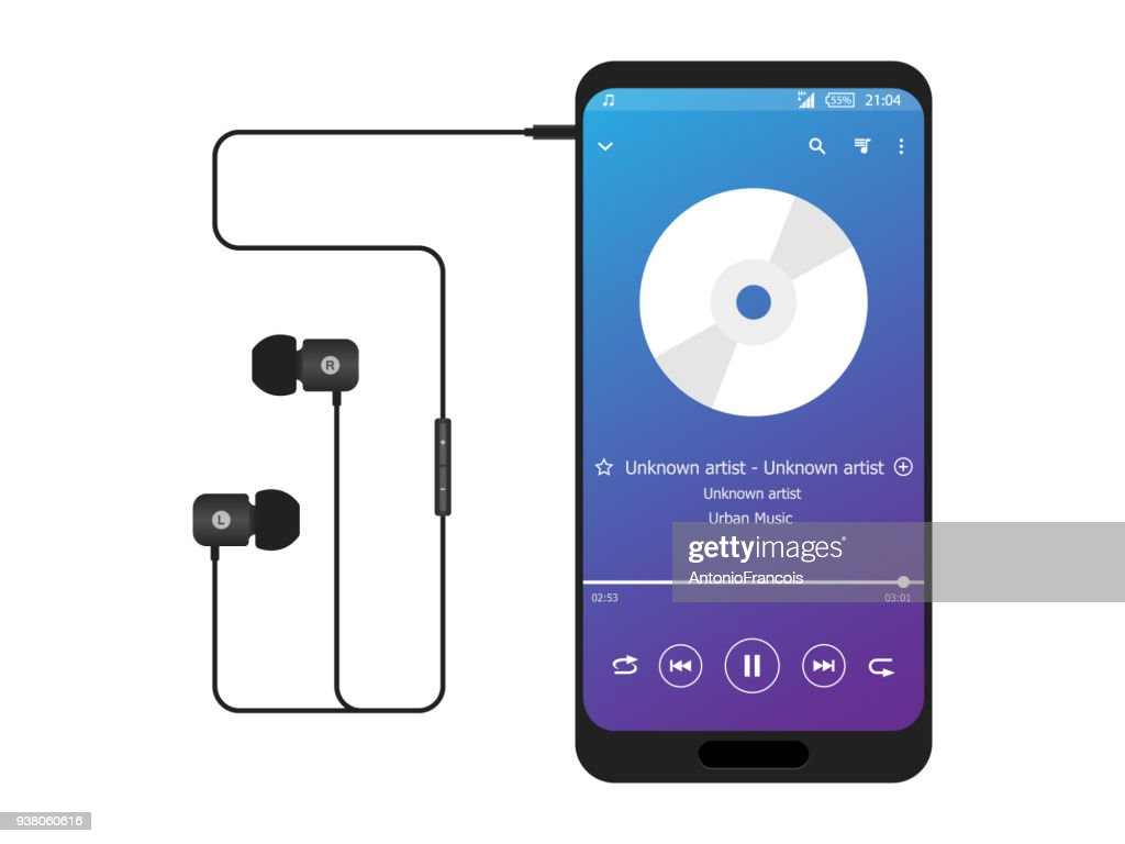 Smart Phone Music player headphones in ear icon vector connected