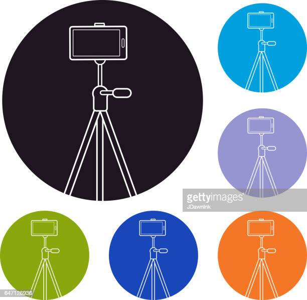 smart phone on a tripod set of icons - camera tripod stock illustrations, clip art, cartoons, & icons