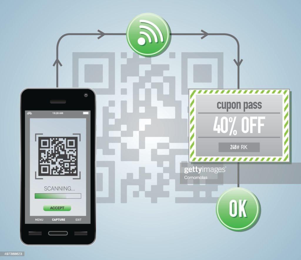 Smart phone reading qr cupon code