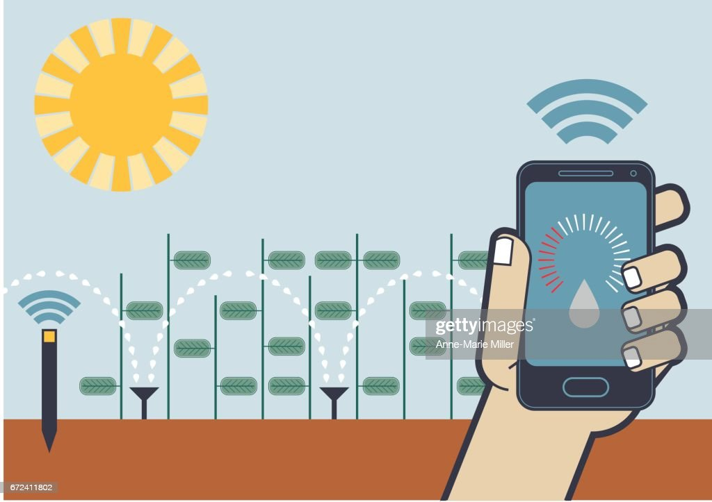 Smart phone sensor crop watering