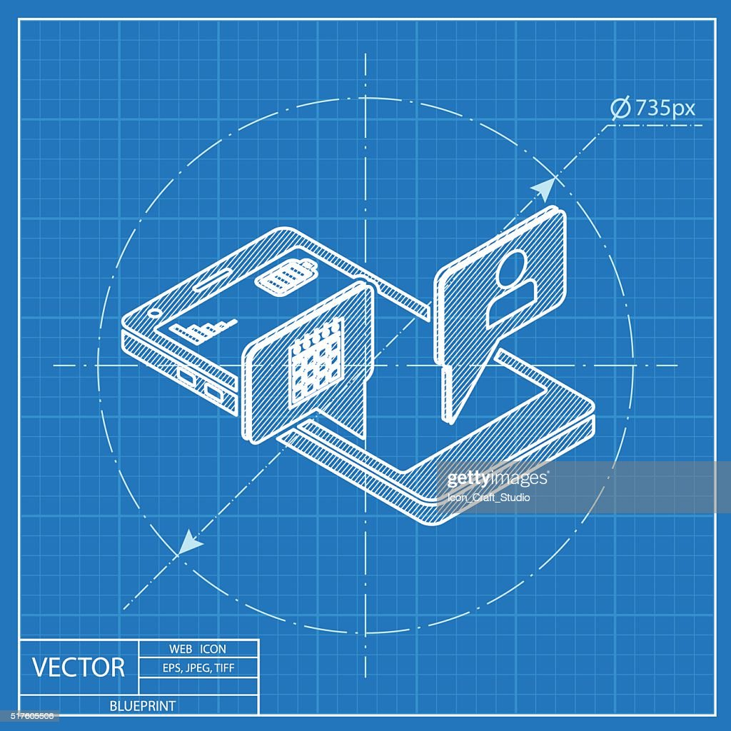 smart phone services 3d isometric blueprint icon