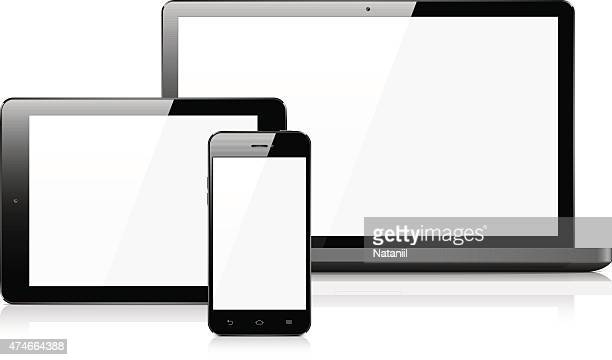 smart phone, tablet, and laptop - blank screen stock illustrations, clip art, cartoons, & icons