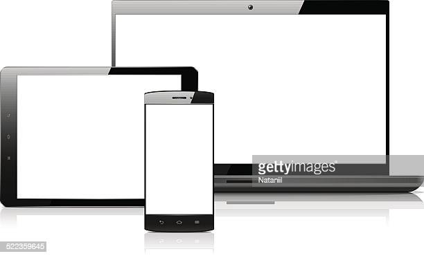 Smart phone, tablet and laptop with blank screens