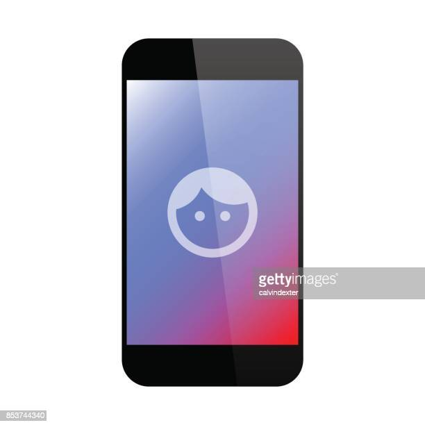 Smart phone with face icon on its screen