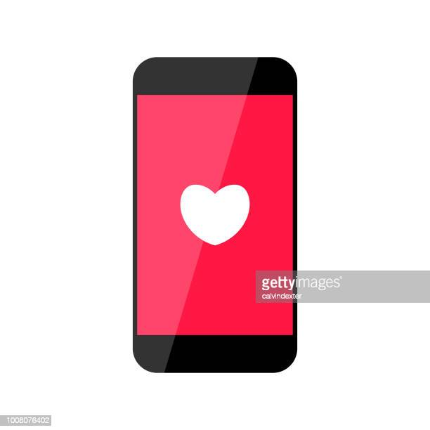 Smart phone with heart shape icon on its display