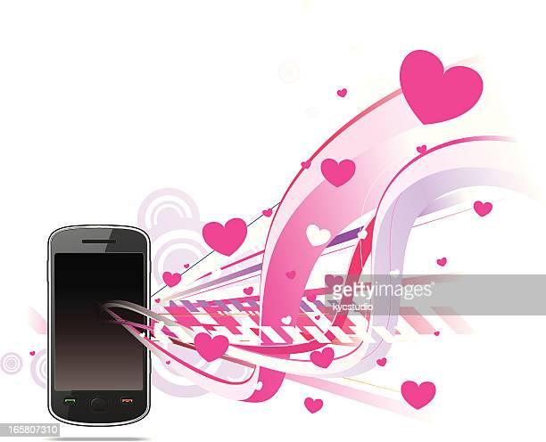smartphone mit romantische szene - electronic organizer stock-grafiken, -clipart, -cartoons und -symbole