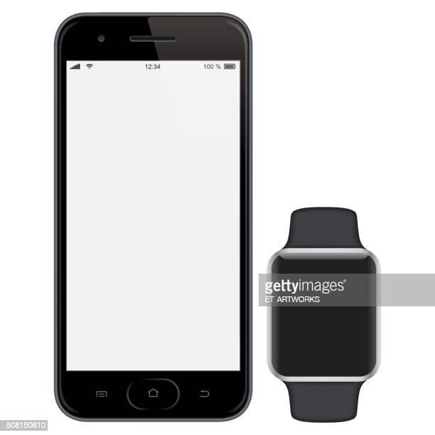smartphone mit intelligente uhren - ausdruckslos stock-grafiken, -clipart, -cartoons und -symbole