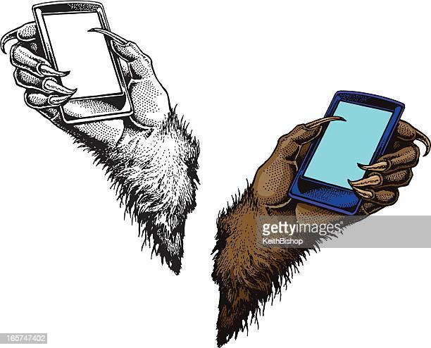 ilustrações de stock, clip art, desenhos animados e ícones de telefone inteligente com lobisomem monstro - lobisomem