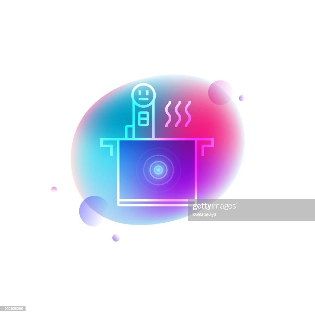 Smart sous vide neon icon