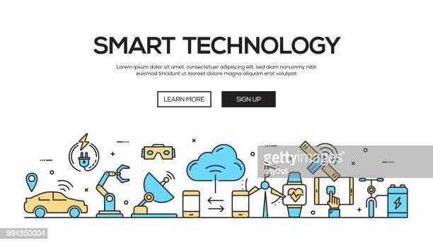 ilustrações, clipart, desenhos animados e ícones de tecnologia inteligente linha plana web banner design - mobile phone