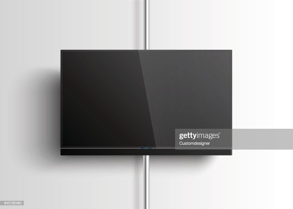 Smart TV Mockup hanging on the wall