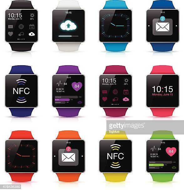 smart watch displaying apps icons - smart watch stock illustrations