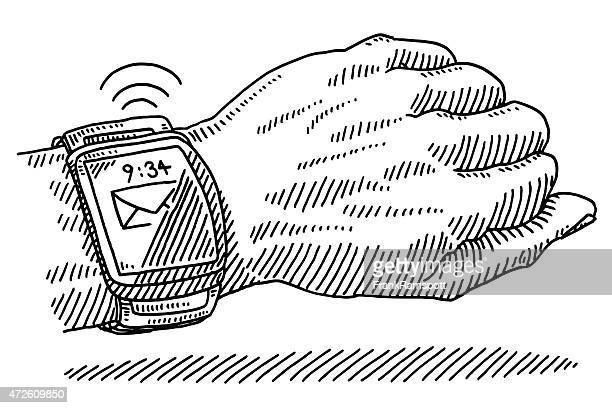 Smart Watch Email Wearable Technology On Wrist Drawing