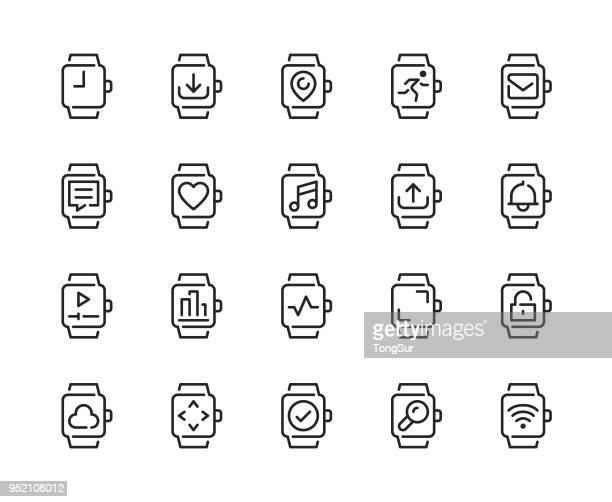 ilustrações, clipart, desenhos animados e ícones de relógio inteligente recurso linha ícones - relógio de pulso