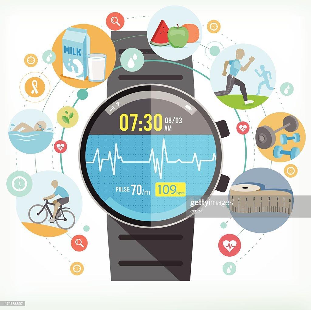 Smart watch für gesundes Leben : Stock-Illustration