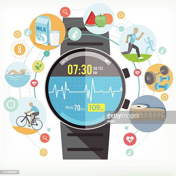 smart watch for healthy life - healthy lifestyle stock illustrations