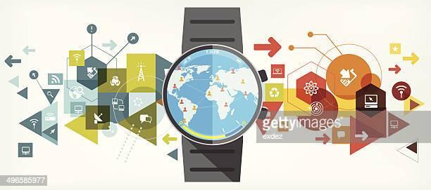 illustrazioni stock, clip art, cartoni animati e icone di tendenza di smartwatch per networking - scoprire nuovi terreni