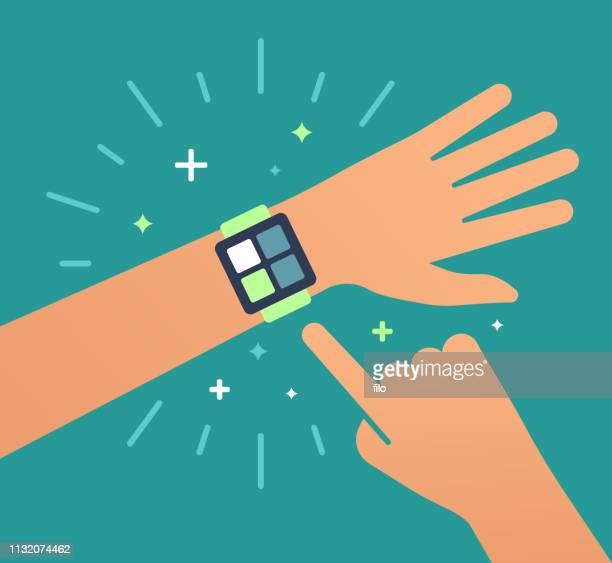 smart watch health tracker mobile device. - smart watch stock illustrations