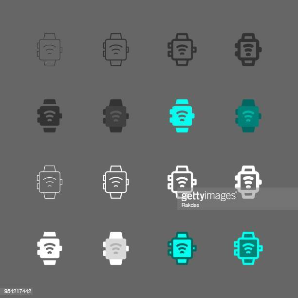 smart watch icon - multi series - fitness tracker stock illustrations, clip art, cartoons, & icons