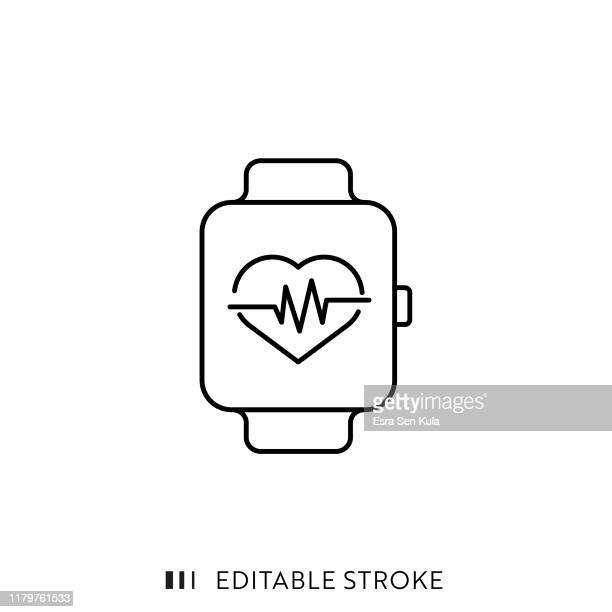 smart watch icon with editable stroke and pixel perfect. - smart watch stock illustrations