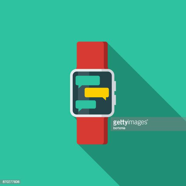 Smart Watch Messaging Flat Design Communications Icon with Side Shadow