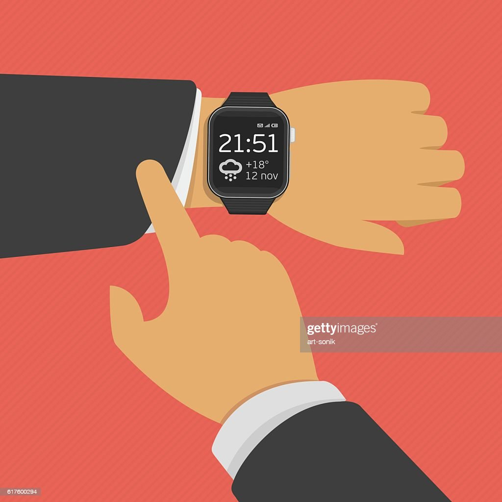 Smart watch on the hand.
