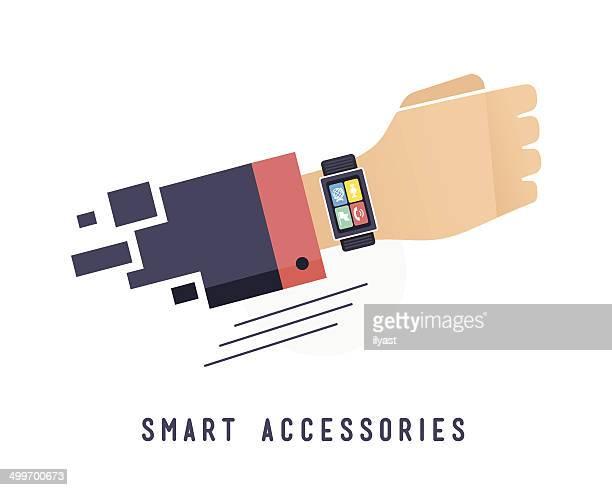 smart watch - wrist stock illustrations, clip art, cartoons, & icons